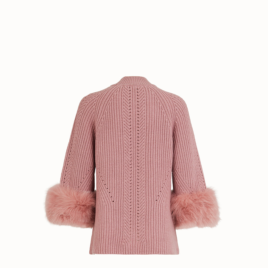 FENDI PULLOVER - Pink cashmere sweater - view 2 detail