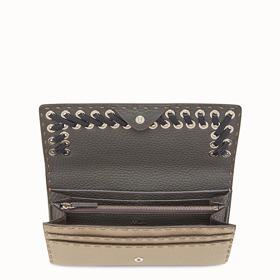 FENDI CONTINENTAL - Selleria beige and grey continental wallet - view 4 detail