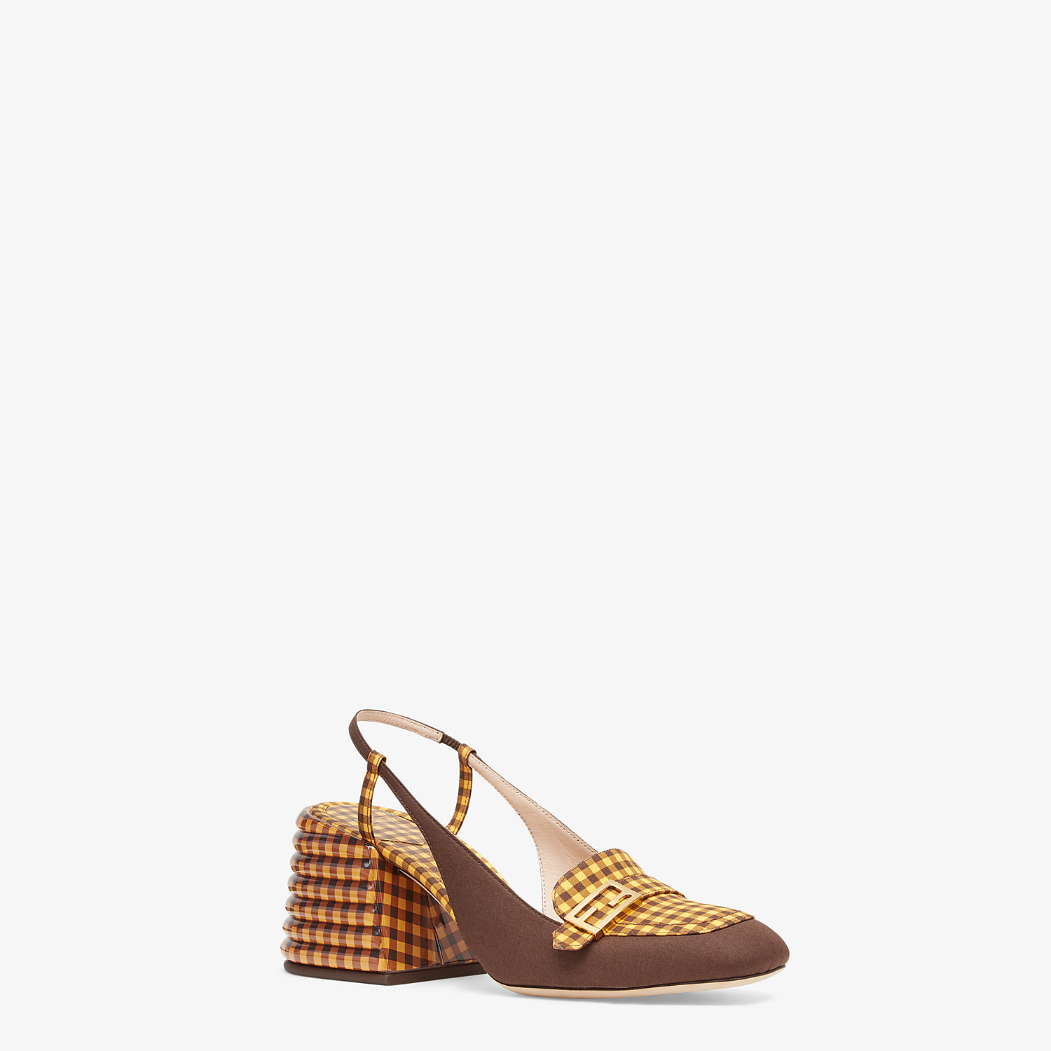 FENDI SLINGBACKS - Brown cotton Promenade - view 2 detail