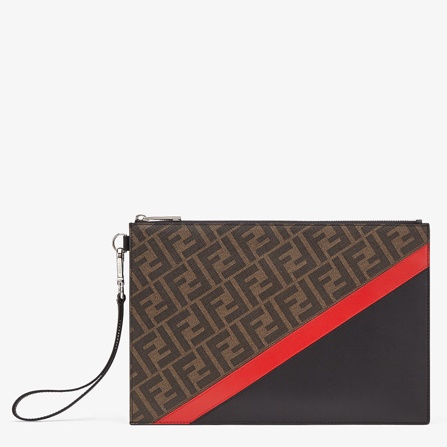 FENDI FLAT POUCH - Brown fabric bag - view 1 detail