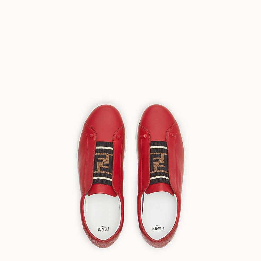 FENDI SNEAKERS - Red leather slip-ons - view 4 detail