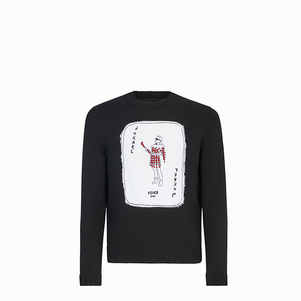 FENDI PULLOVER - Black cotton jumper - view 1 small thumbnail
