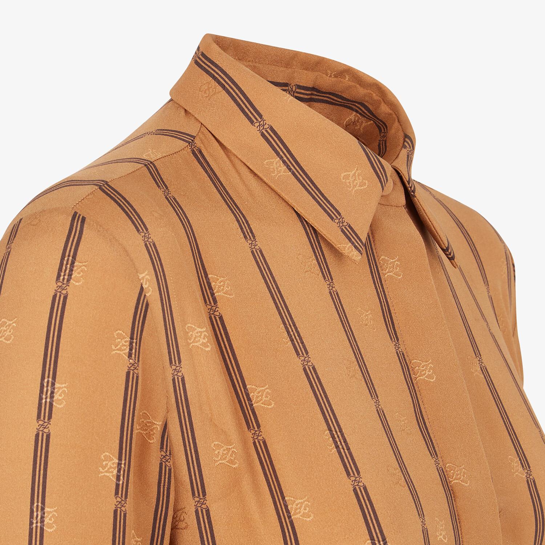 FENDI SHIRT - Brown crêpe satin shirt - view 3 detail