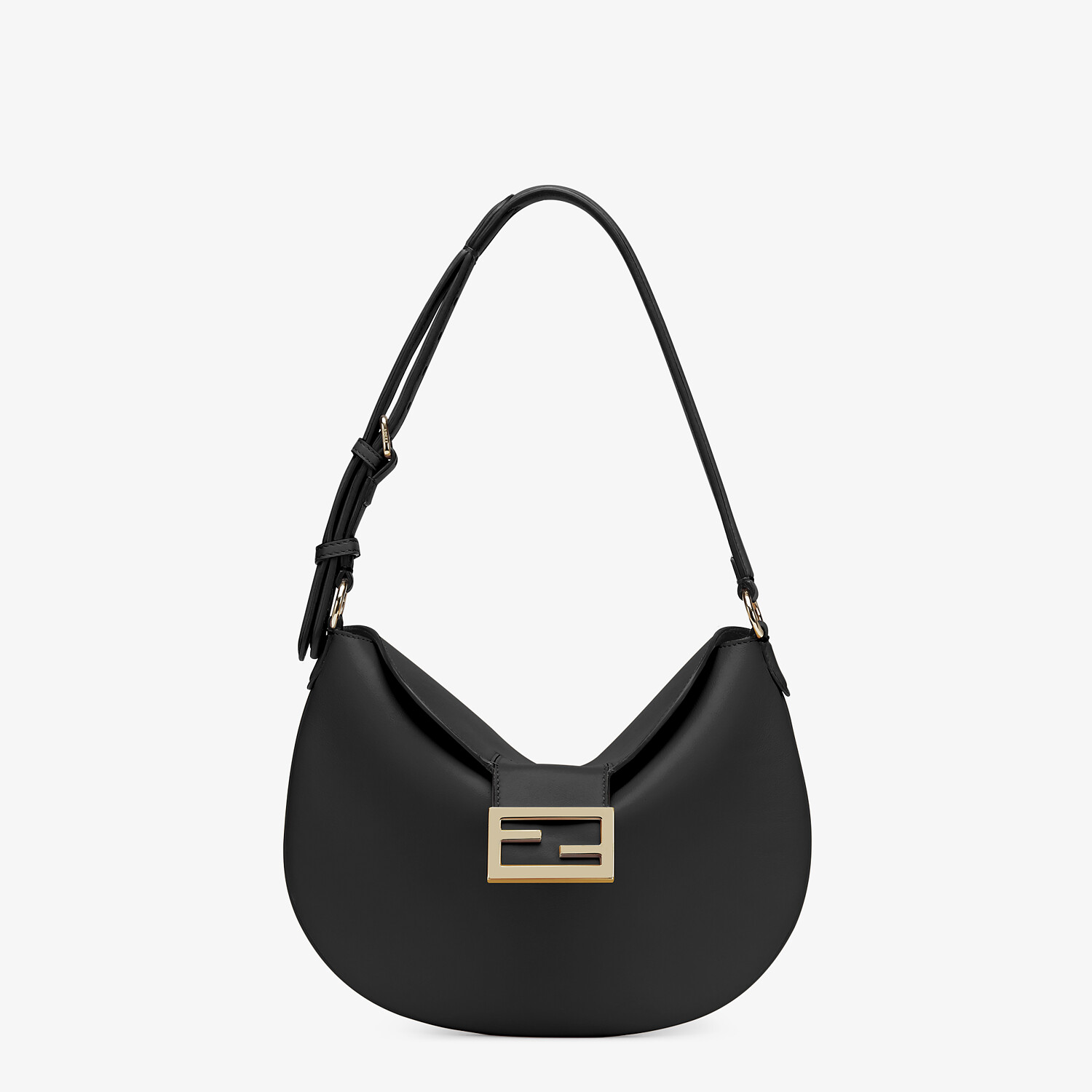 FENDI SMALL CROISSANT - Black leather bag - view 1 detail