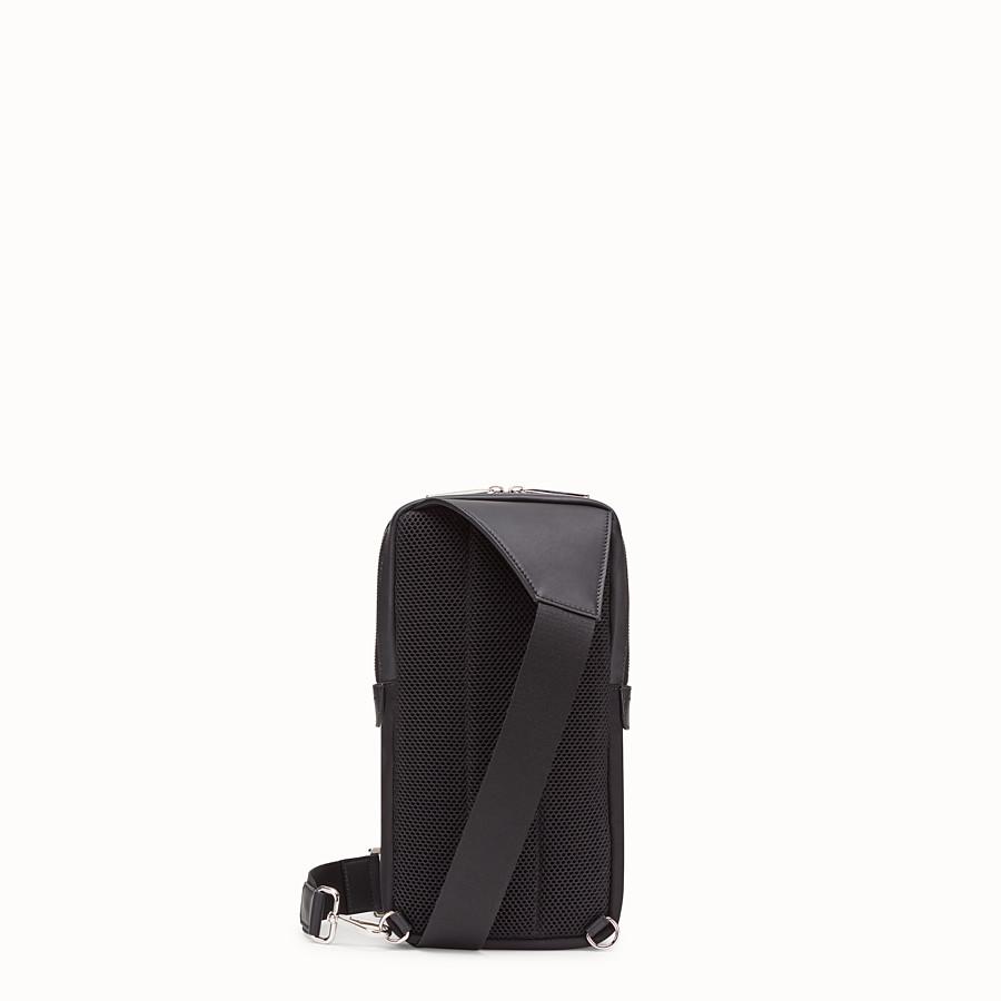 FENDI BELT BAG - One-shoulder backpack in black leather and nylon - view 3 detail