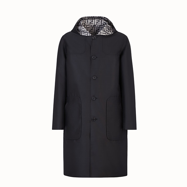 FENDI DUFFEL COAT - Black nylon coat - view 1 small thumbnail