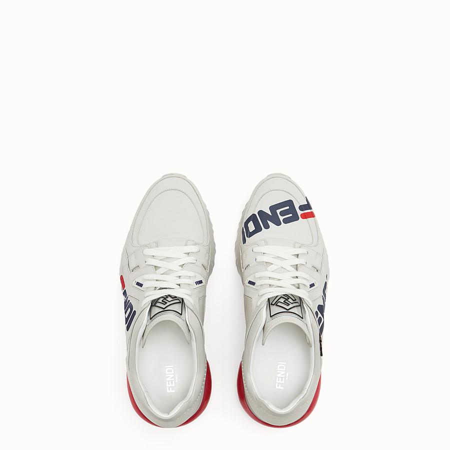 FENDI SNEAKERS - White nappa leather low tops - view 4 detail