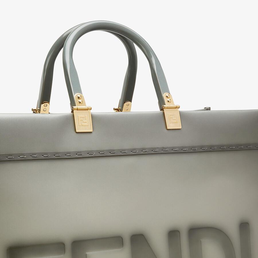 FENDI FENDI SUNSHINE LARGE - gray leather shopper - view 5 detail