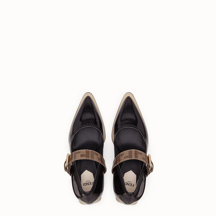 FENDI COURT SHOES - Mary Jane in glossy black neoprene - view 4 detail