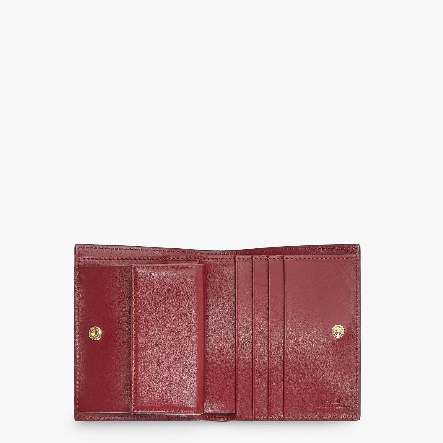 FENDI BIFOLD - Burgundy leather compact wallet - view 3 detail