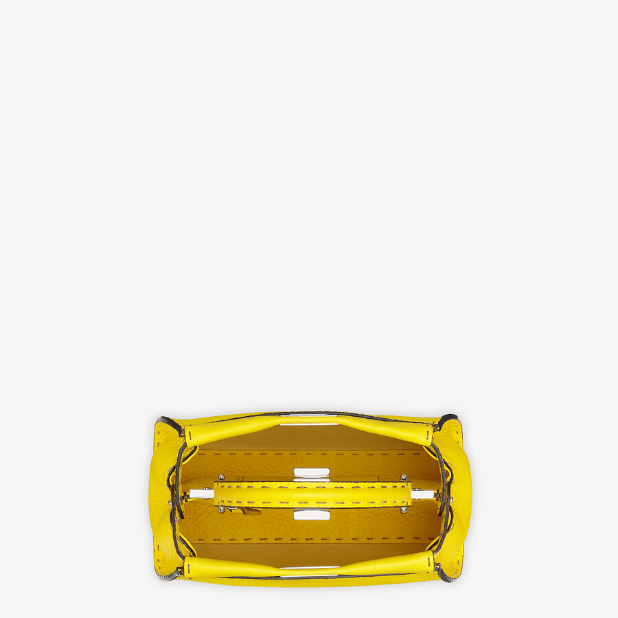 FENDI PEEKABOO ICONIC MINI - Yellow Cuoio Romano leather bag - view 4 detail