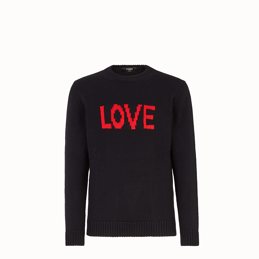FENDI PULLOVER - Black and red wool round-neck pullover - view 1 detail