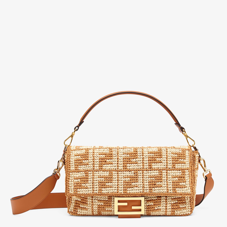 FENDI BAGUETTE LARGE - Ochre FF raffia bag - view 1 detail