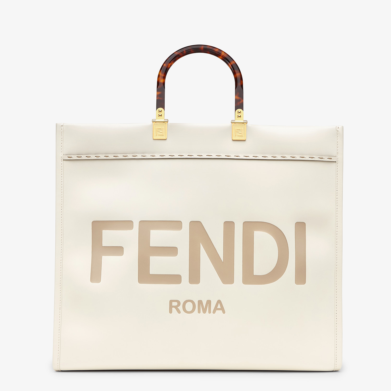 FENDI SUNSHINE SHOPPER - White leather shopper - view 1 detail