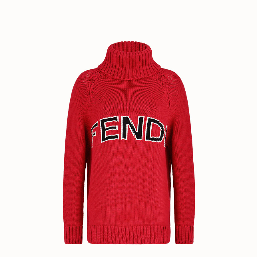 FENDI Turtleneck - Red wool jumper - view 1 detail
