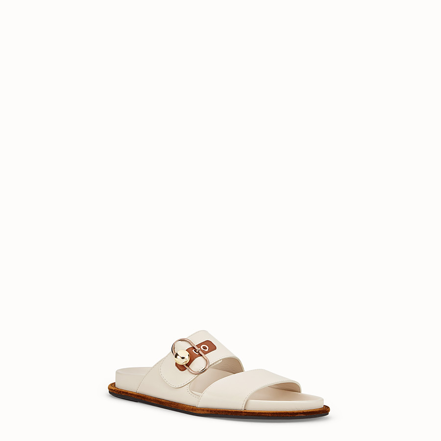 FENDI SANDALS - White leather flats - view 2 detail
