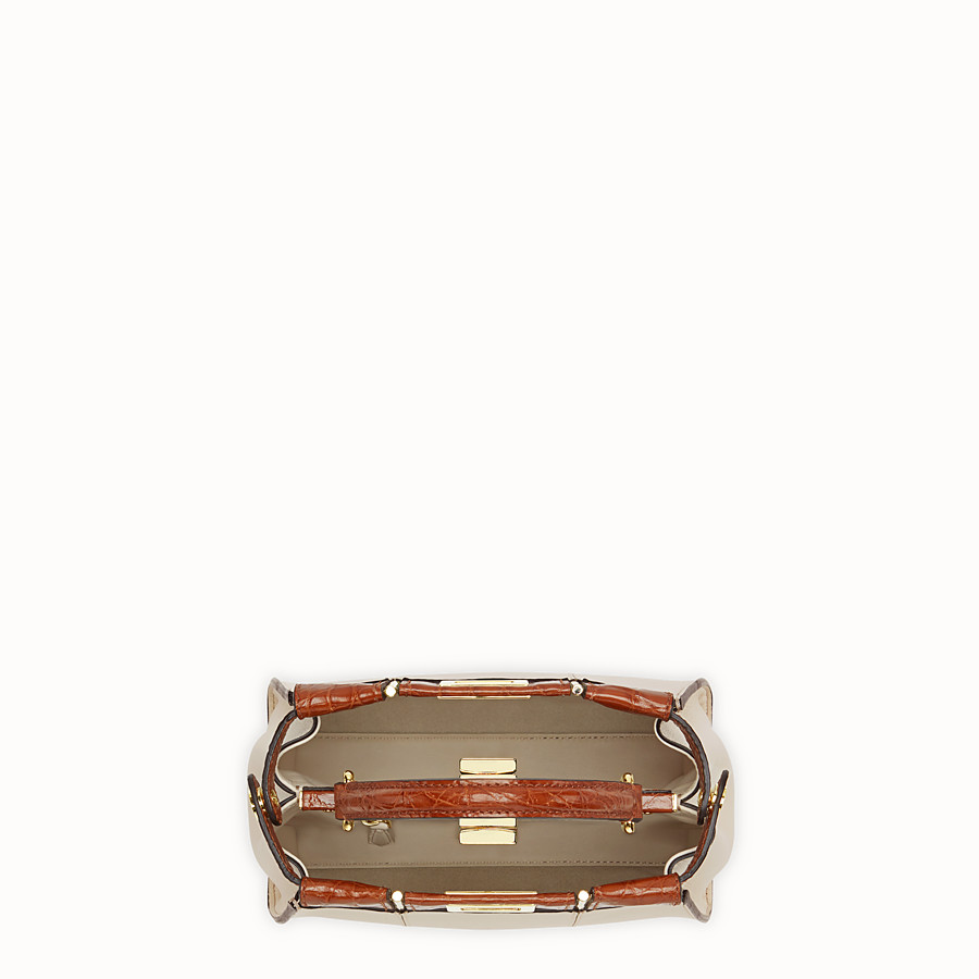FENDI PEEKABOO ICONIC MINI - White leather bag with exotic details - view 5 detail