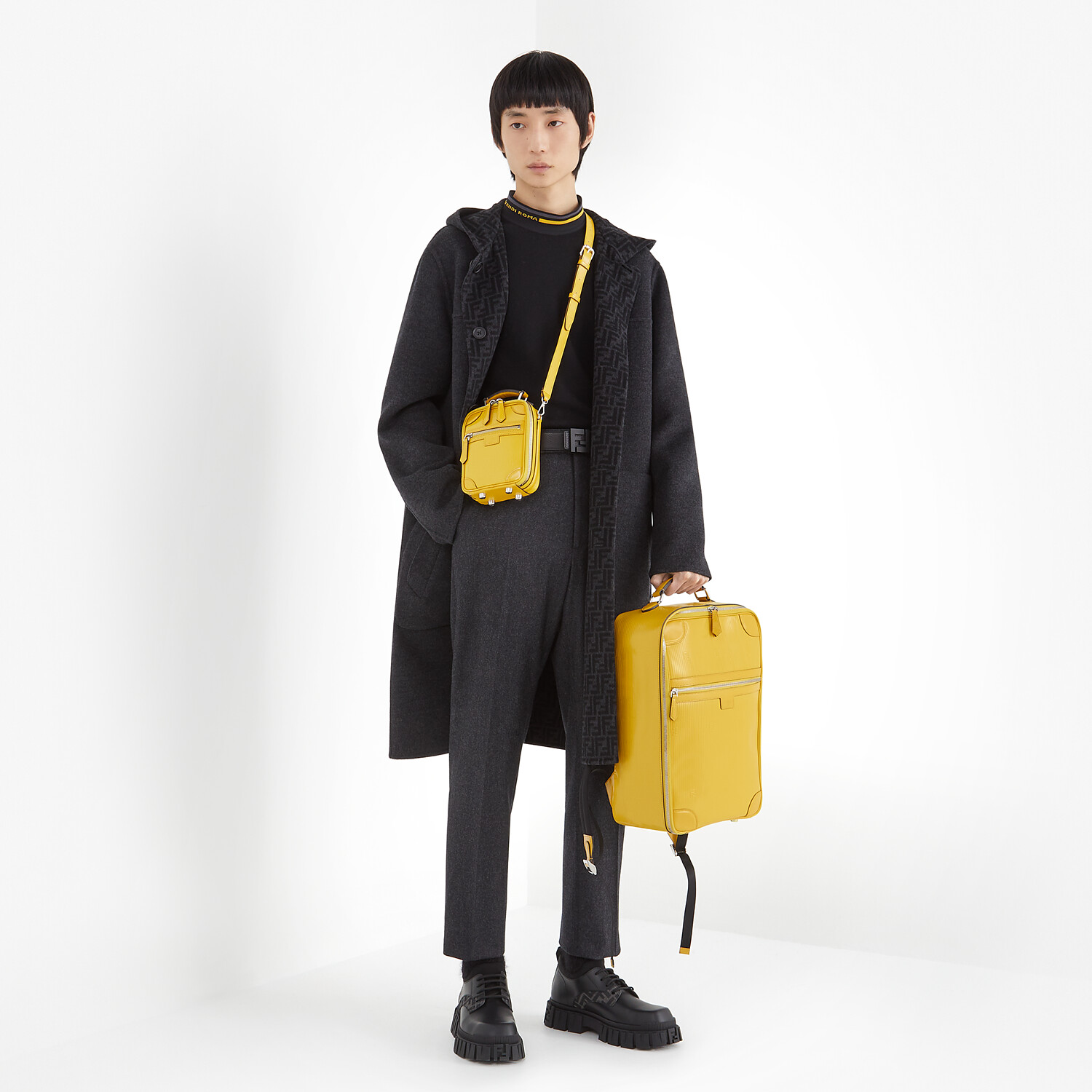 FENDI TRAVEL BACKPACK - Yellow leather backpack - view 6 detail