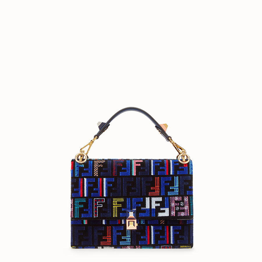 FENDI KAN I - Blue leather and silk bag - view 1 detail