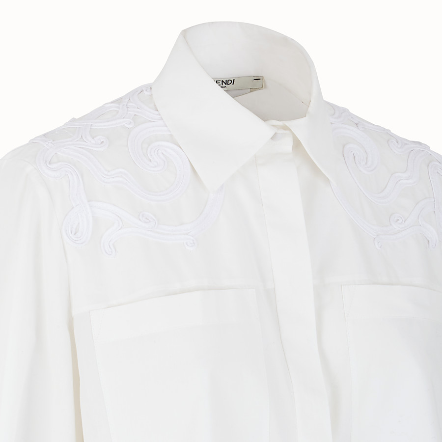 FENDI SHIRT - White cotton taffeta shirt - view 3 detail