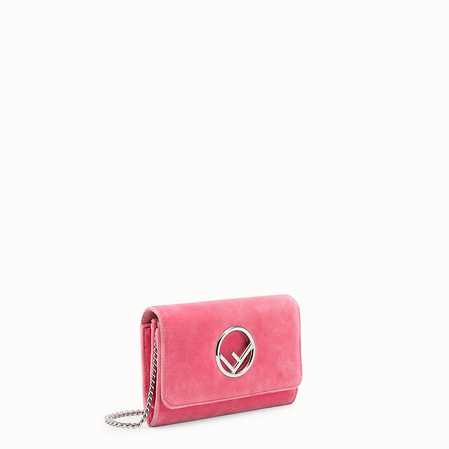 FENDI WALLET ON CHAIN - Pink velvet mini-bag - view 2 detail