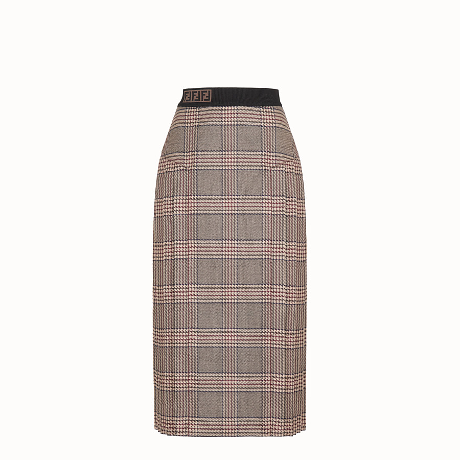 FENDI SKIRT - Prince of Wales check wool skirt - view 1 detail
