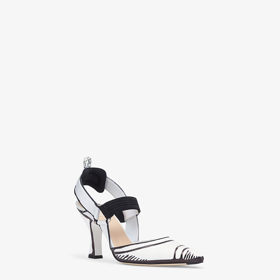 FENDI SLINGBACKS - White leather Colibrì slingbacks - view 2 detail