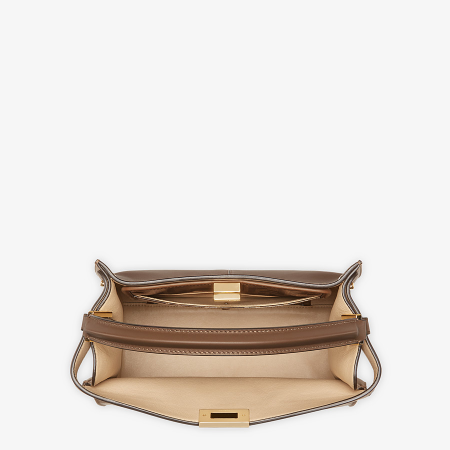 FENDI MEDIUM PEEKABOO X-LITE - Brown leather bag - view 5 detail