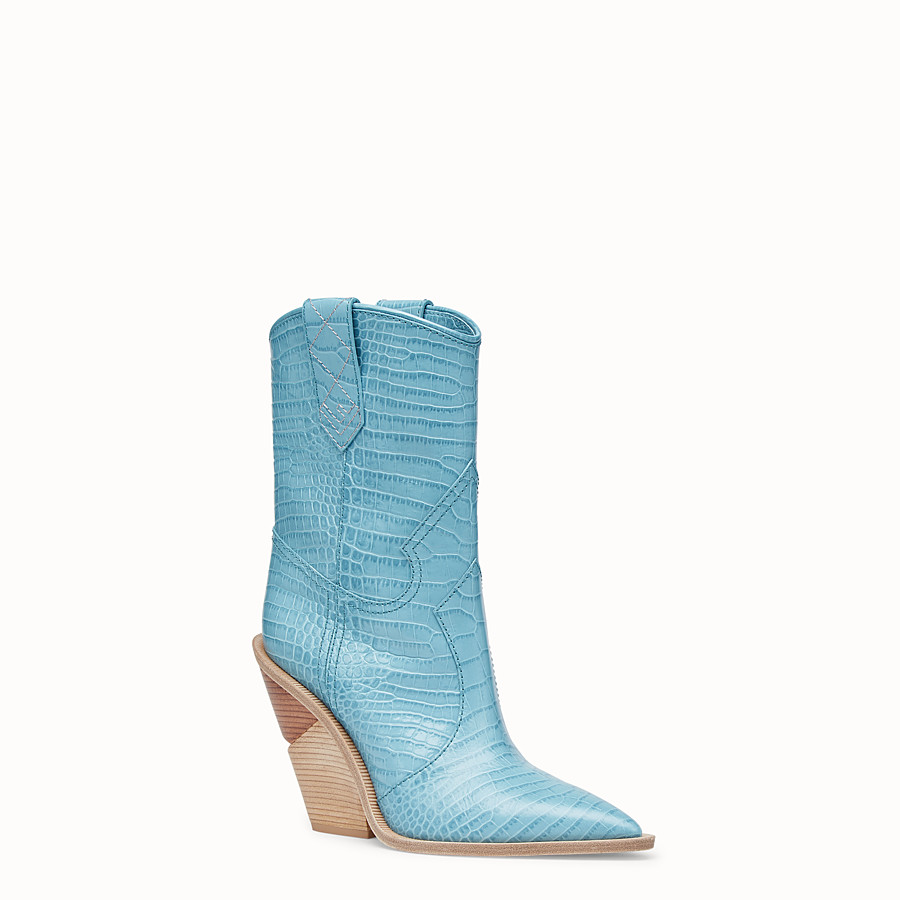 FENDI BOOTS - Pale blue leather ankle boots - view 2 detail
