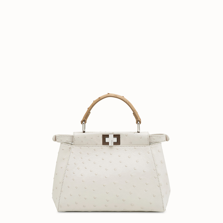 FENDI PEEKABOO ICONIC MINI - White ostrich bag - view 3 detail