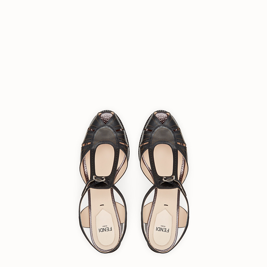 FENDI SANDALS - Black leather sandals - view 4 detail