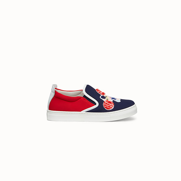 FENDI SCARPA - Scarpe slip on in licra blu e rossa - vista 1 thumbnail piccola