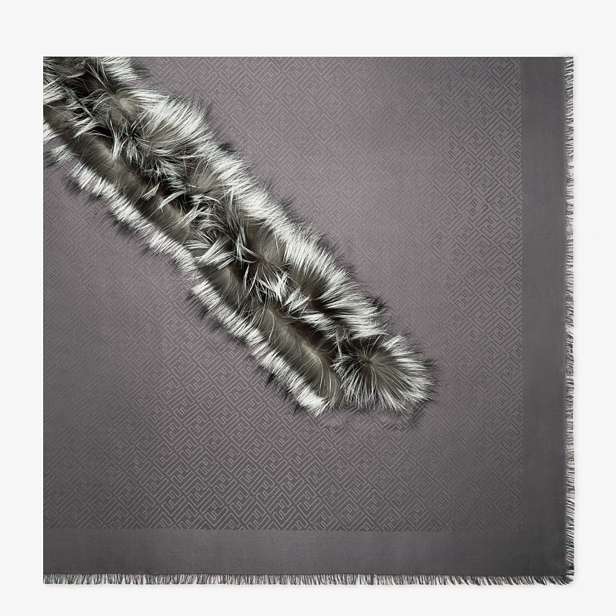 FENDI TOUCH OF FUR SHAWL - Grey silk and wool shawl - view 1 detail