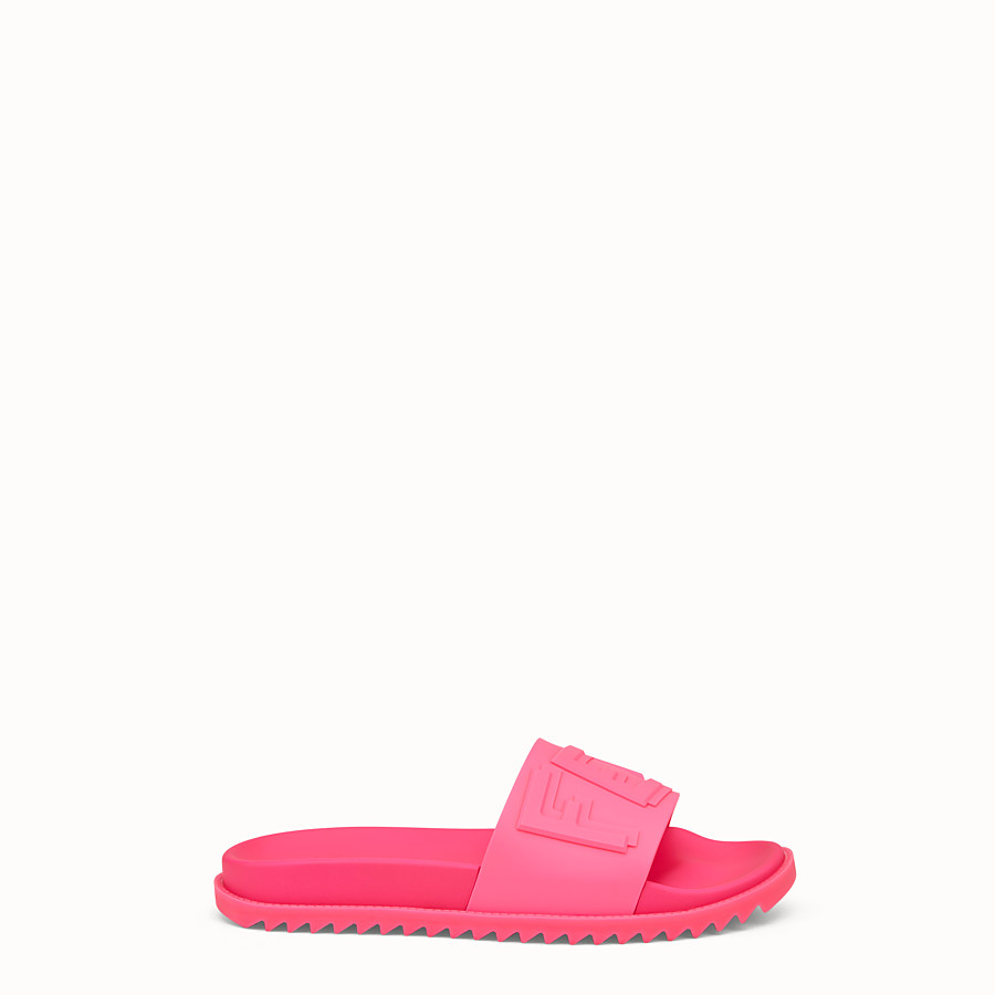 FENDI SLIDES - Pink rubber slides - view 1 detail