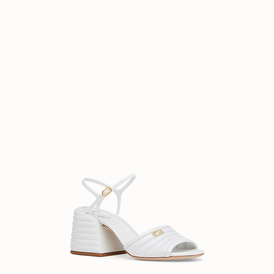 FENDI SLINGBACK - White leather sandals - view 2 detail
