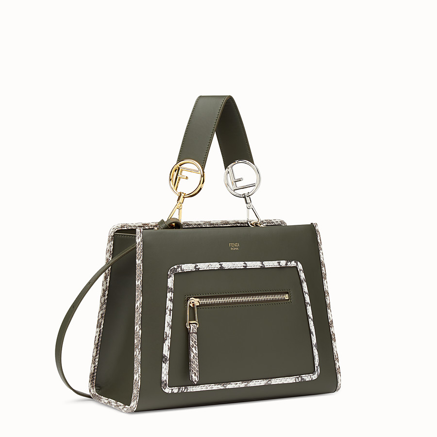 FENDI RUNAWAY SMALL - Green leather bag with exotic details - view 2 detail