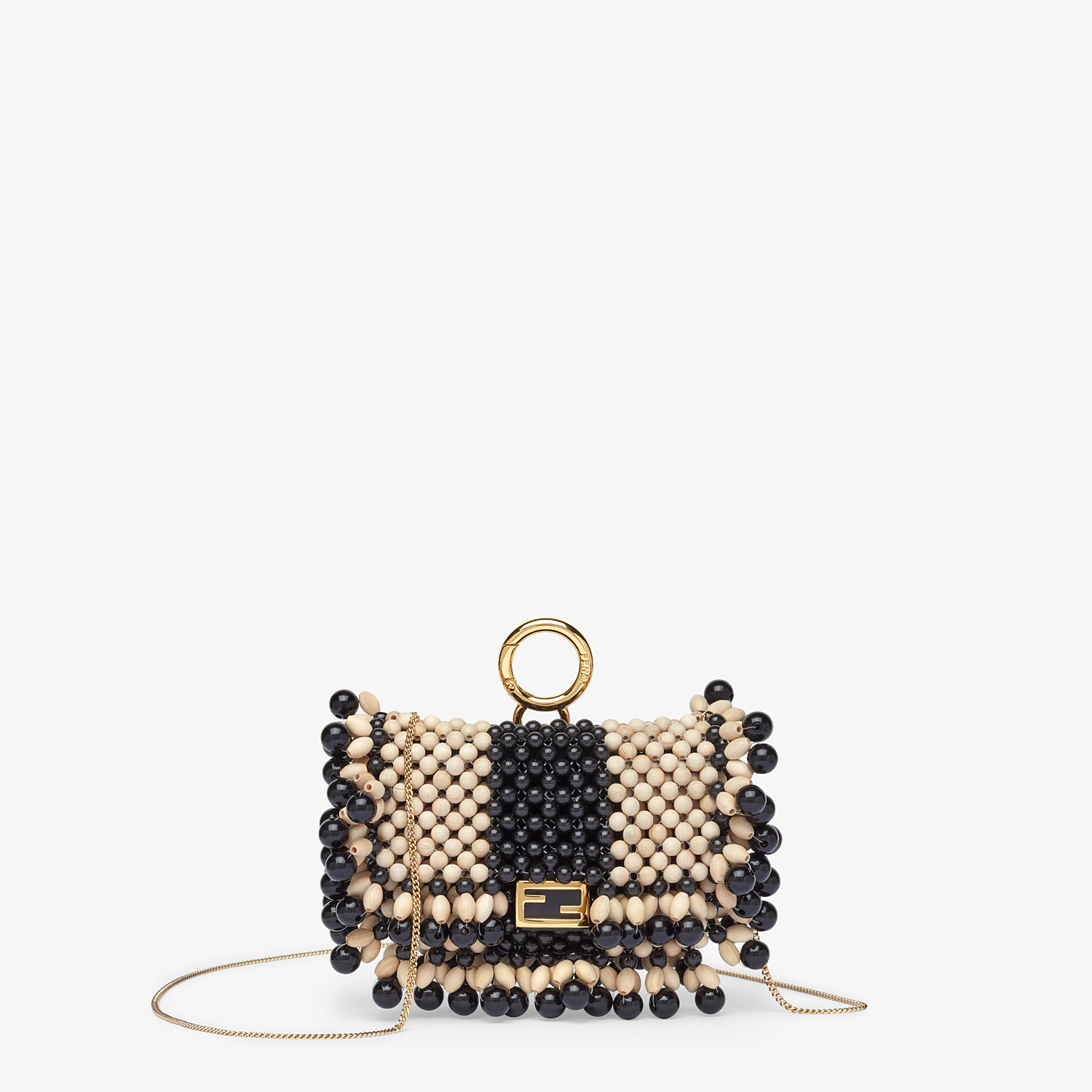 FENDI NANO BAGUETTE CHARM - Charm with beige beads - view 1 detail