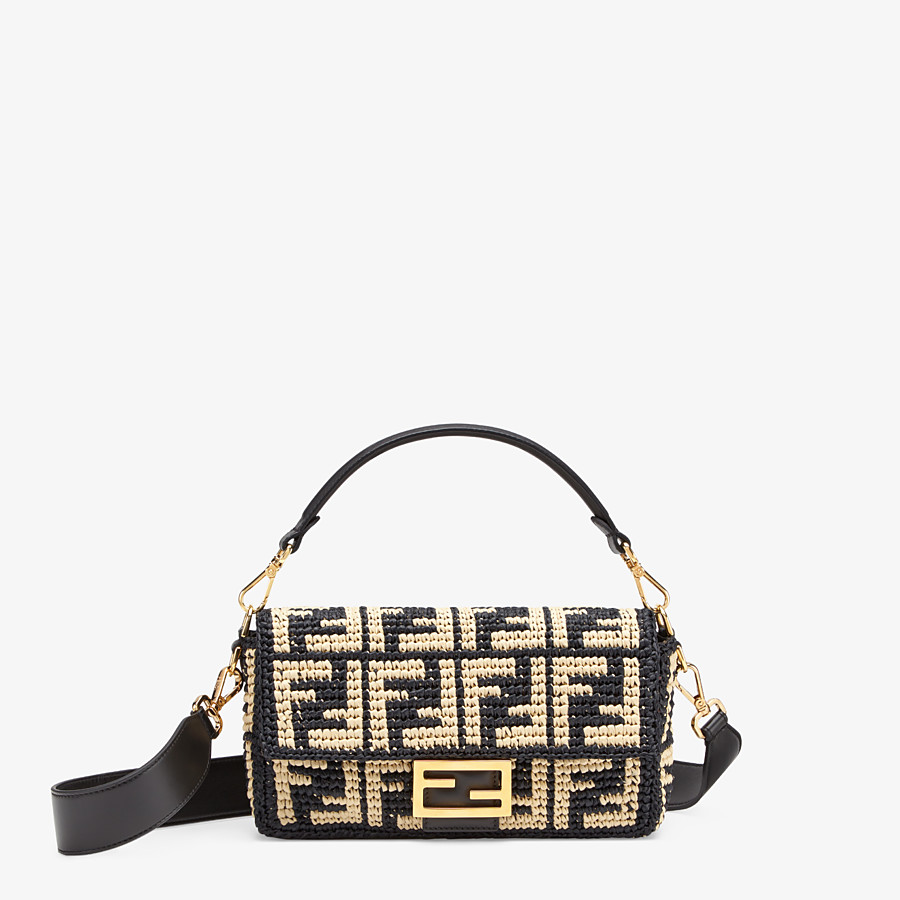 FENDI BAGUETTE - Black raffia FF bag - view 1 detail