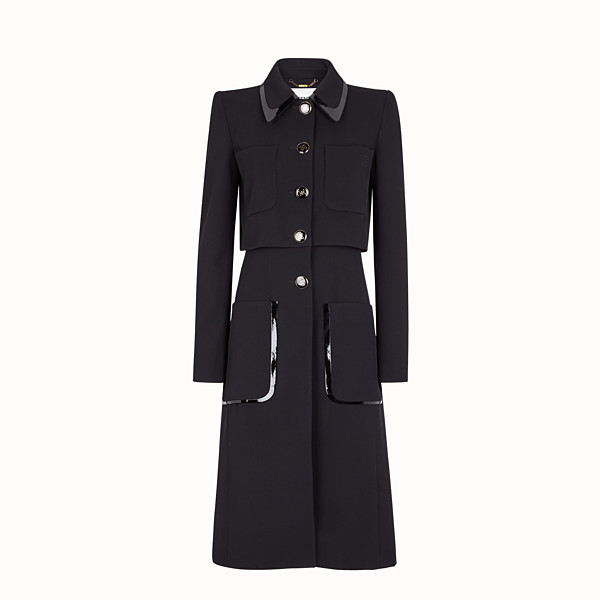 FENDI COAT - Black gabardine coat - view 1 small thumbnail