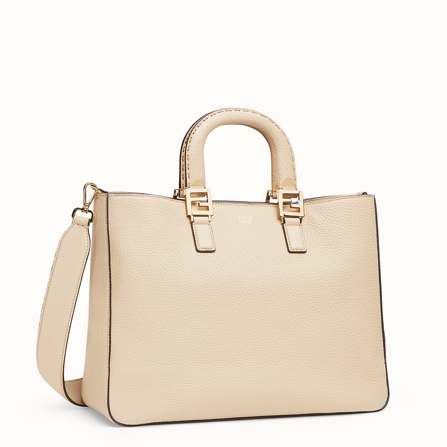 FENDI FF TOTE MEDIUM - Beige leather bag - view 2 detail
