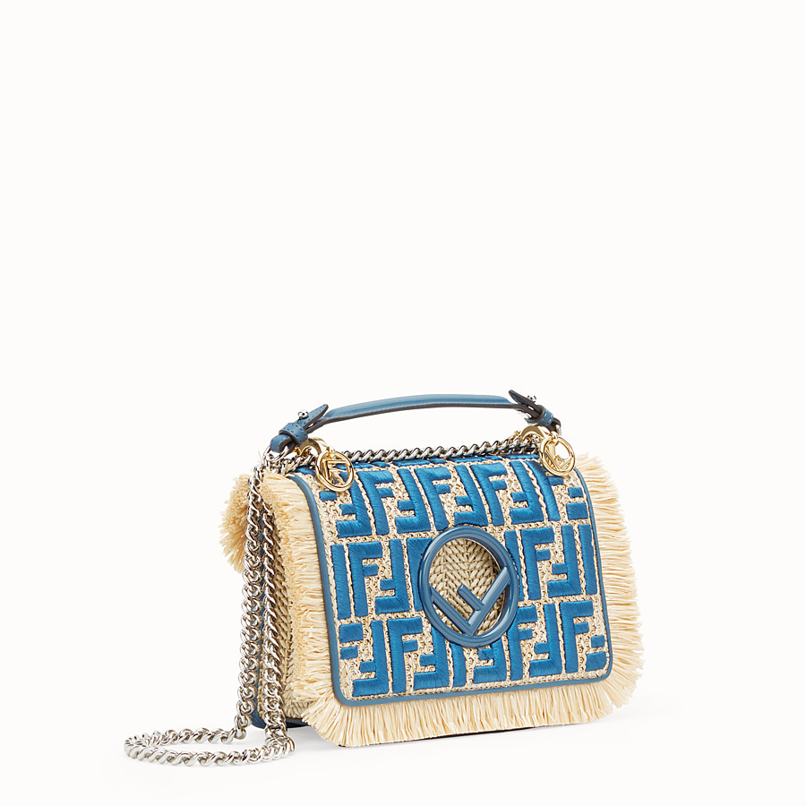 FENDI KAN I F SMALL - Raffia and blue leather mini-bag - view 2 detail