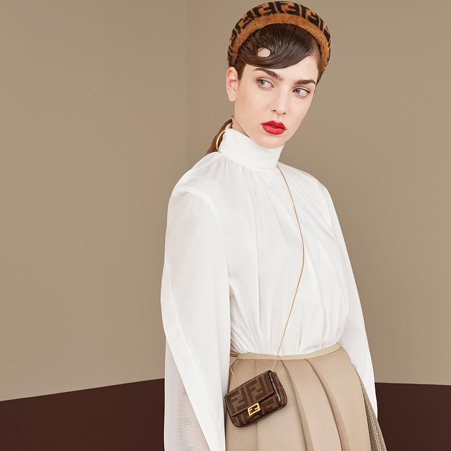 FENDI NANO BAGUETTE CHARM - Brown fabric charm - view 2 detail