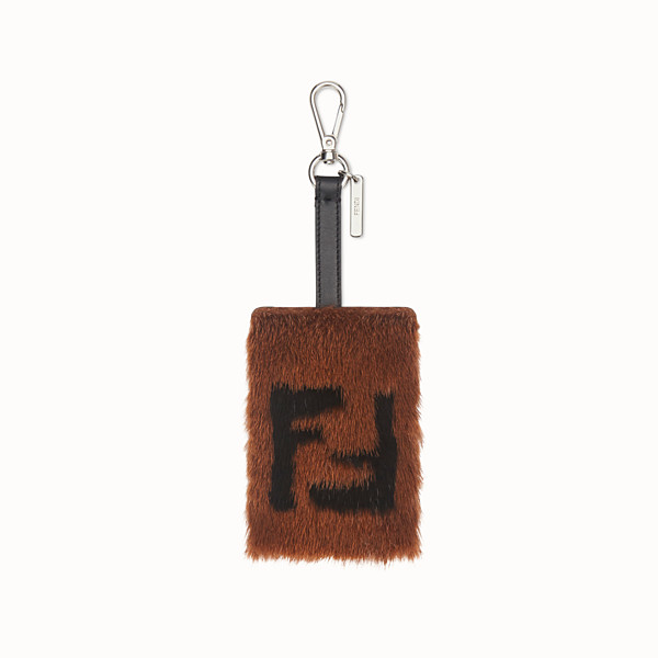 FENDI ADDRESS CARD TAG - Brown leather and mink card holder - view 1 small thumbnail