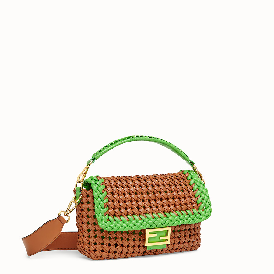 FENDI BAGUETTE - Brown leather interlace bag - view 3 detail