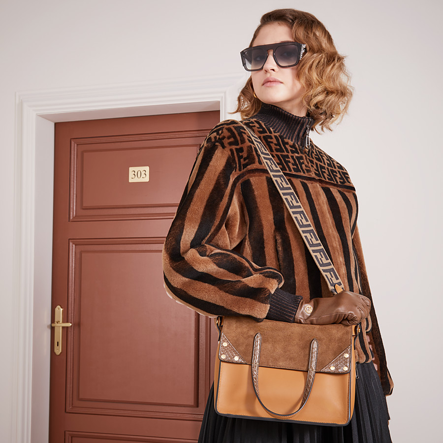 FENDI GLOVES - Gloves in brown nappa leather - view 3 detail