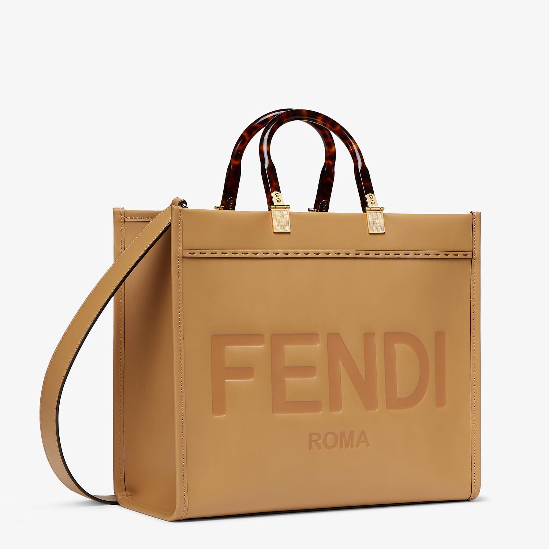 FENDI MEDIUM FENDI SUNSHINE - Beige leather shopper bag - view 3 detail