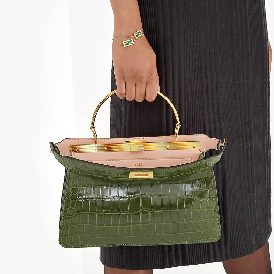 FENDI PEEKABOO I SEE U EAST-WEST - Green crocodile bag - view 2 detail