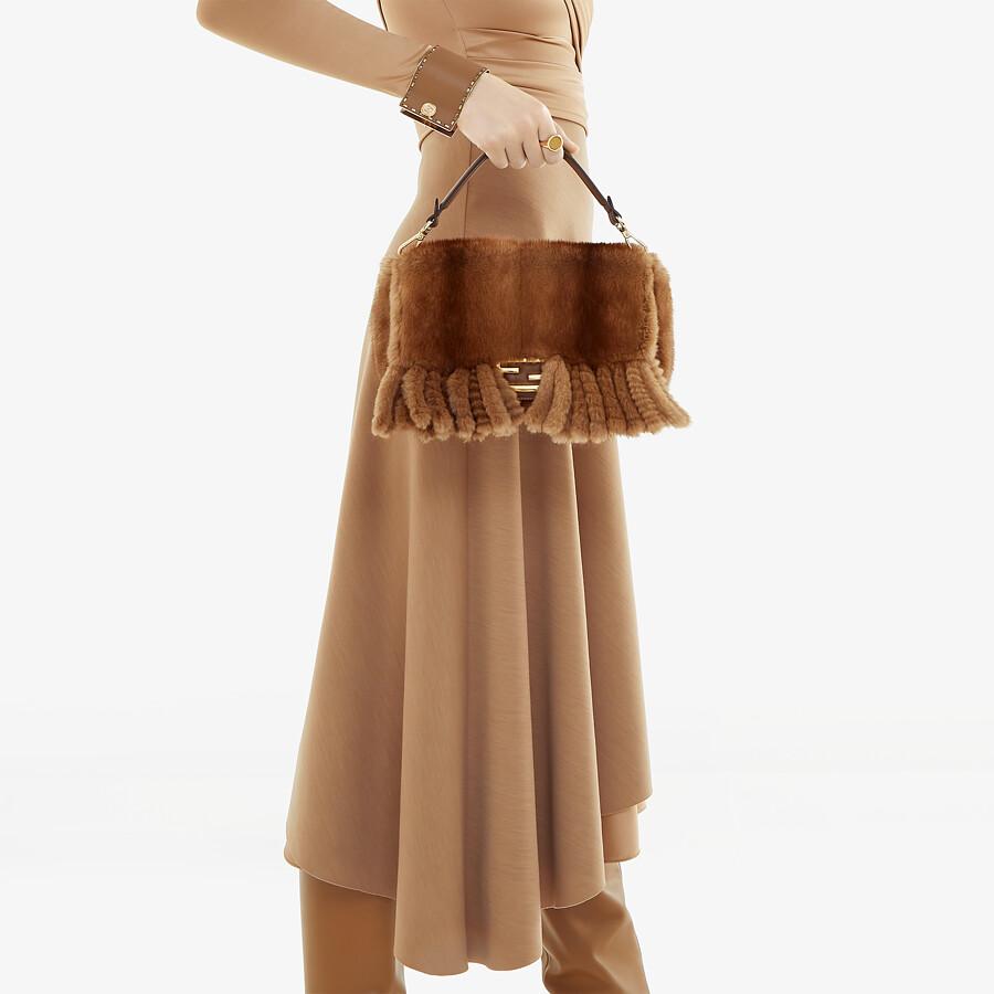 FENDI BAGUETTE - Natural mink bag with fringing - view 2 detail