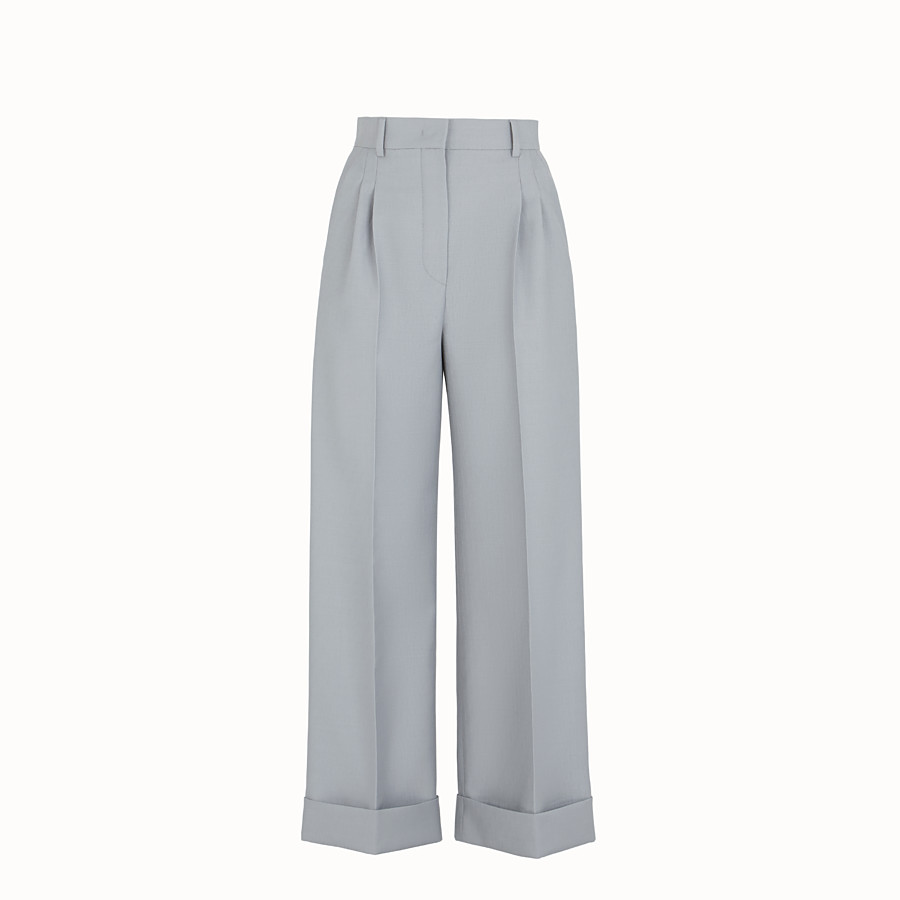 FENDI TROUSERS - Grey wool trousers - view 1 detail