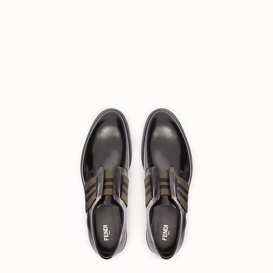 FENDI DERBY SHOES - Black leather slip-ons. - view 4 detail